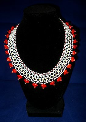 Handmade Extensible Bib Necklace Amazonian Tribal Ethnic Beaded With Red Seeds