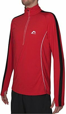 More Mile Mens Hi-Viz Half Zip Red Black Long Sleeve Running Shirt MM2029