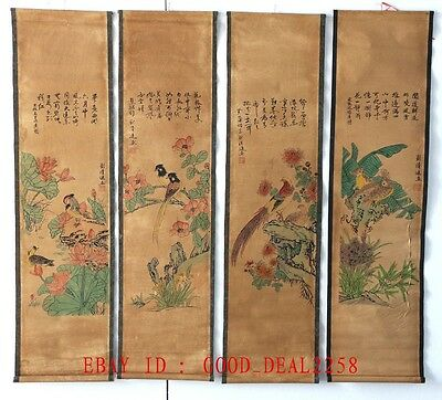 A set of 4pcs,Old Collection Scroll Chinese Painting&Calligraphy :Flower & Birds