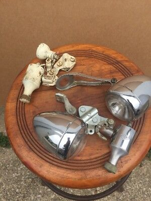 2 Vintage Miller Bicycle Headlamps Tail Light Generator Britain NR Estate