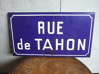 Original French Enamel Street Sign.RUE de TAHON.Large size 18 x 10 inches.