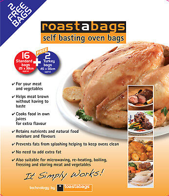 16 Oven Roasting bags 25 x 38cm PLUS 2 Large 45x55cm bags FREE - Christmas Offer
