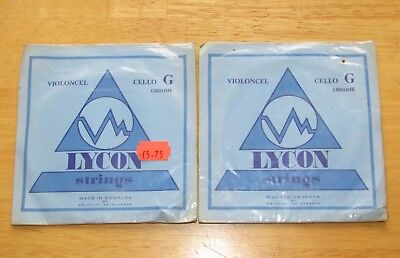 2 x Vintage LYCON Violoncel Chrome Cello Strings Made in Denmark; Unopened