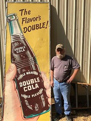 RARE Vintage Large Vertical Original Double Cola Sign