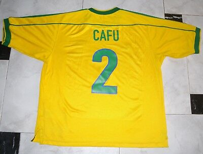 VINTAGE BRAZIL CAFU' MATCH WORN FIFA WORLD CUP FRANCE 1998 HOME # 2 TEAM jersey