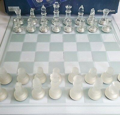 Large Clear & Frosted Glass Chess Set 45 x 45 cm by Harrogate House