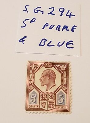 gb stamps kevII  1902/10  5d purple and blue sg 294 m /mint