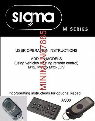 Sigma alarm and immobiliser User manuals M series and S series