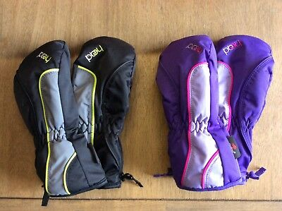 HEAD Jr Insulated Ski Mittens -- BOYS/GIRLS -- Black/Gray and Purple