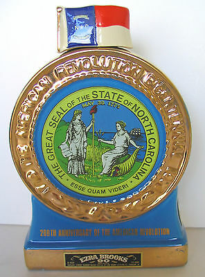 NORTH CAROLINA 200th ANNIVERSARY AMERICAN REVOLUTION GOLD TRIM  BROOKS DECANTER