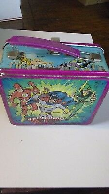 Vintage 1976 Aladdin DC Comics Super Friends Tin Lunch Box Lunchbox with Thermos