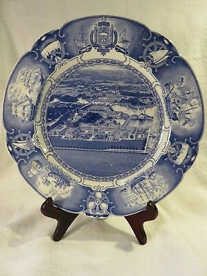 U.S. Naval Academy - Wedgewood Plate - Airplane View from East - 1930s - Mint