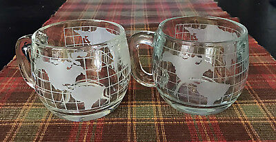 2  Vintage 1970s Nestle Nescafe Clear Glass Globe World Cup Mug Coffee Excellent