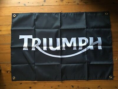 Triumph Mc 3x2 ft Man cave flag art pool room sign wall hanging signs bar garage