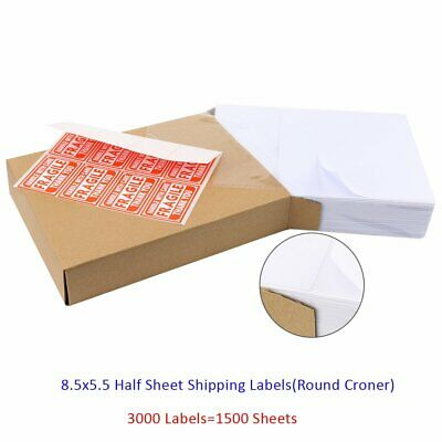 3000 Half Sheets 8.5x5.5 Round Corner Shipping Postage Labels Self Adhesive USPS
