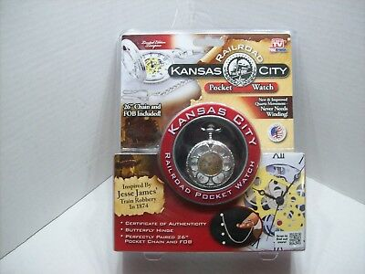 """Kansas City Railroad Pocket Watch 26"""" Chain As On TV, Factory Sealed"""