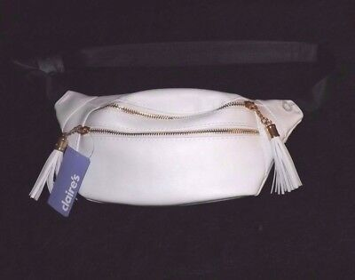 Fanny pack Hip sack white Leather Like purse travel vacation waist pack new