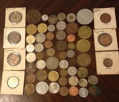 Assorted Coins & Tokens - Lot of 57 Italy, France,Cyprus, England,India,Hawaii +