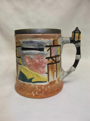 Lancaster Sandland Hand Painted Dickens Ware Character Tankard , EPNS Rim