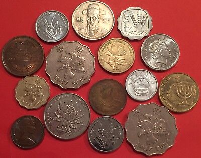 Lot of 15 collectible coins of Asia & Oceania ASO L01
