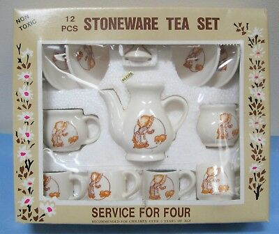 VINTAGE CHILDS STONEWARE TEA SET 12 pc GIRL WEARING BONNET w/ PUPPY 1985 McCRORY