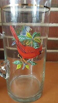 One Blue Jay / Red Cardinal Glass Pitcher Ice Lip Iced Tea Lemonade Beverage EUC