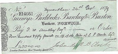 British 1879 Cheque Gurneys Birklecks Barclays Buxton Bank 9612