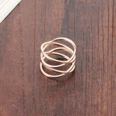 Hollow Twist Rose Gold GP Jewellery Wrap Stainless Steel Ring UK Size J L N Q