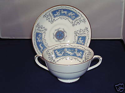 Coalport Revelry Two Handled Soup Coup And Saucer.