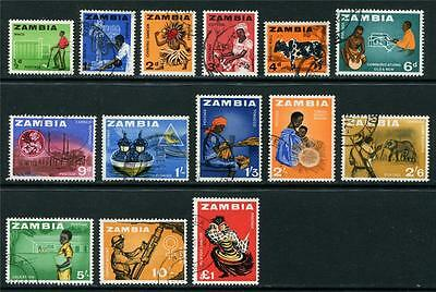 Zambia: 1964 Pictorial set of 14 stamps to £1 SG94-107 Used R130