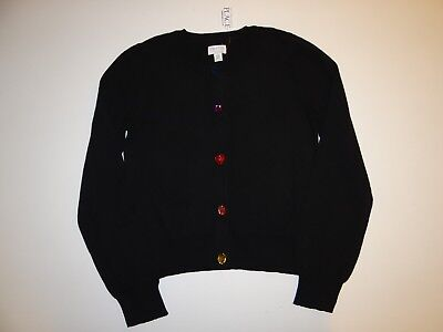 Children's Place Nwt Black Jewel Buttons Cardigan Sweater Size 10/12 L 10 12
