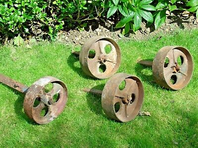 Antique cast iron Shepherd hut / chicken hut wheels