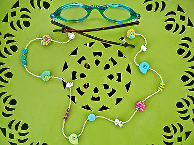 Glasses Chain Holder Beaded Shells Beads Fimo Shells Artist Made Unique New SEE*