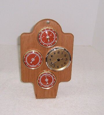 Hand Made Weather Station White Oak Thermometer Barometer Hygrometer Clock