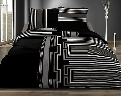 Housse de couette 240x260 + 2 taies - 100% microfibre - INTENSE BLACK