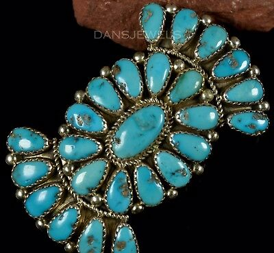 BIG Old Pawn Vintage NAVAJO Concho Sterling Silver & Turquoise Pin Brooch JM