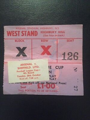 Ticket: Arsenal v Sheffield United 26/10/71 League Cup