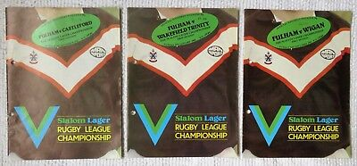 Nice Lot of 3 x 1980's Fulham Slalom Lager Championship (First Div.) Programmes.