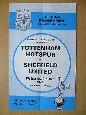 Football League CUP 3rd Round 1970- TOTTENHAM HOTSPUR v SHEFFIELD UNITED, 7 Oct