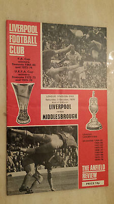 1976/77 League Division One- LIVERPOOL v MIDDLESBROUGH