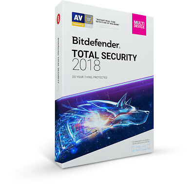 Bitdefender TOTAL Security 2018 | 1 Device 1 Year | Pre Activated |Fast Delivery