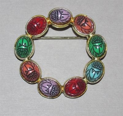 Vintage ~ ANCIENT EGYPTIAN REVIVAL Carved Lucite SCARAB Brooch ~ Circle WREATH