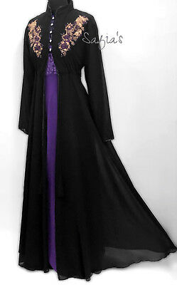 Frock Over Abaya Chiffon Top Black with Embroidery detail
