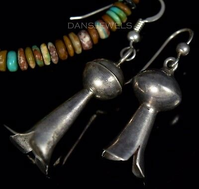 Old Pawn Vintage NAVAJO Dangle SQUASH BLOSSOM Dangle Sterling Earrings