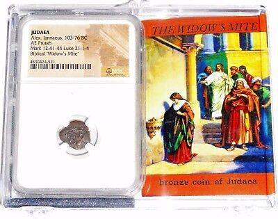 Widows Mite Judean Lepton Of Alex Janeaus Coin, NGC Certif With New Display Box