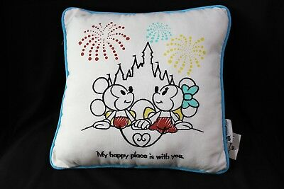 "Disney Mickey Minnie Castle Fireworks Pillow ""My Happy Place Is With You"""