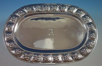 "Aztec Rose by Sanborns Mexican Sterling Silver Bread Tray Oval 12"" (#1772)"