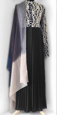 Pleated Chiffon & Lace Abaya Jilbab Black/Beige
