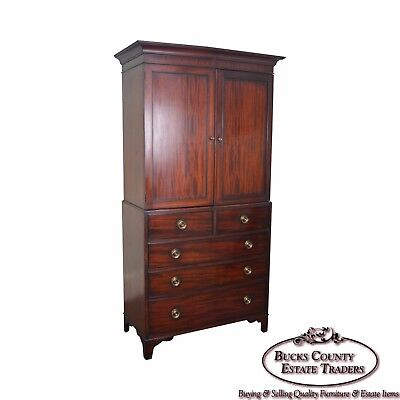 George III Style Large Mahogany Linen Press Armoire by Baker