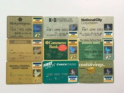 Lot of 9 vintage visa expired credit charge cards X7